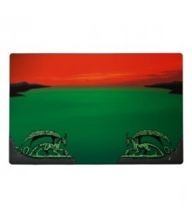 Tapete Arcane Dragons Dragon Shield. Color Rojo / Verde
