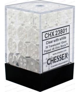 Dados de 6 caras Translucent Chessex. Transparente / Blanco D6 - Bloque de 36