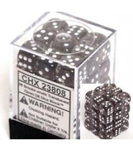 Dados de 6 caras Translucent Chessex. Smoke / Blanco D6 - Bloque de 36