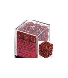 Dados de 6 caras Scarab Chessex. Escarlata / Oro D6 - Bloque de 36