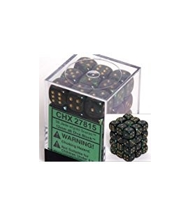 Dados de 6 caras Scarab Chessex. Jade / Oro D6 - Bloque de 36