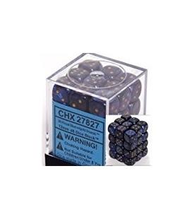 Dados de 6 caras Scarab Chessex. Azul Real / Oro D6 - Bloque de 36