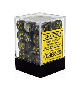 Dados de 6 caras Vortex Chessex. Negro / Amarillo D6 - Bloque de 36