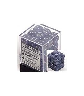 Dados de 6 caras Phantom Chessex. Negro / Plata D6 - Bloque de 36