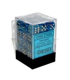 Dados de 6 caras Phantom Chessex. Teal / Oro D6 - Bloque de 36