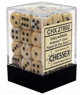 Dados de 6 caras Marble Chessex. Marfil / Negro D6 - Bloque de 36