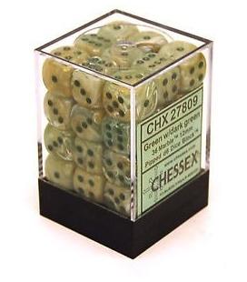 Dados de 6 caras Marble Chessex. Verde / Verde Oscuro D6 - Bloque de 36