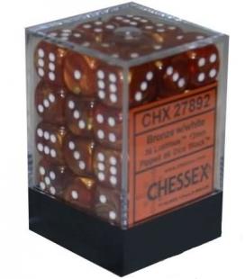 Dados de 6 caras Lustrous Chessex. Bronce / Blanco D6 - Bloque de 36