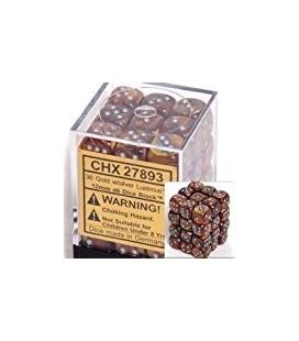 Dados de 6 caras Lustrous Chessex. Oro / Plata D6 - Bloque de 36