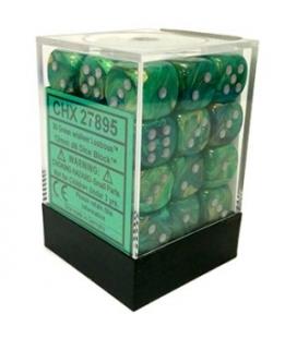 Dados de 6 caras Lustrous Chessex. Verde / Plata D6 - Bloque de 36