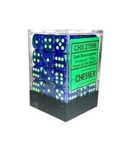 Dados de 6 caras Lustrous Chessex. Azul Oscuro / Verde D6 - Bloque de 36