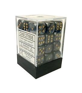 Dados de 6 caras Lustrous Chessex. Negro / Oro D6 - Bloque de 36