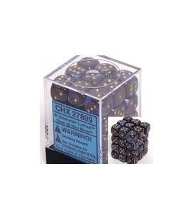 Dados de 6 caras Lustrous Chessex. Sombra / Oro D6 - Bloque de 36