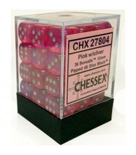 Dados de 6 caras Borealis Chessex. Rosa / Plata D6 - Bloque de 36