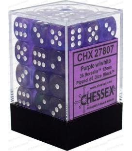 Dados de 6 caras Borealis Chessex. Purpura / Blanco D6 - Bloque de 36