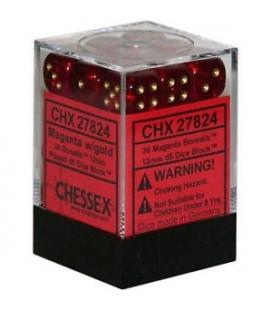 Dados de 6 caras Borealis Chessex. Magenta / Oro D6 - Bloque de 36
