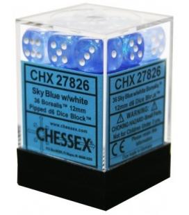 Dados de 6 caras Borealis Chessex. Azul Cielo / Blanco D6 - Bloque de 36