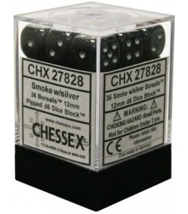 Dados de 6 caras Borealis Chessex. Humo / Plata D6 - Bloque de 36