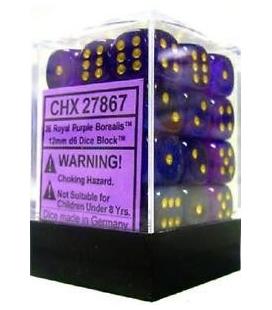 Dados de 6 caras Borealis Chessex. Purpura Real / Oro D6 - Bloque de 36