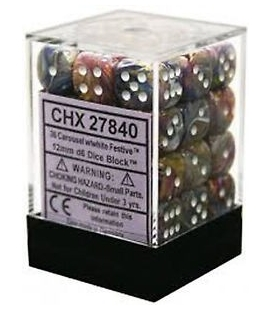 Dados de 6 caras Festive Chessex. Carrusel / Blanco D6 - Bloque de 36