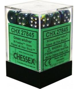 Dados de 6 caras Festive Chessex. Verde / Plata D6 - Bloque de 36