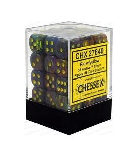 Dados de 6 caras Festive Chessex. Rio / Amarillo D6 - Bloque de 36