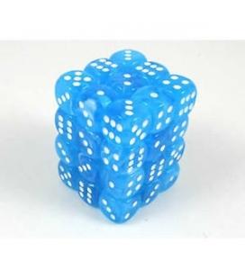 Dados de 6 caras Cirrus Chessex. Azul Claro / Blanco D6 - Bloque de 36