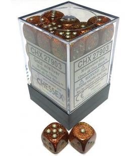 Dados de 6 caras Glitter Polyhedral Chessex. Oro / Plata D6 - Bloque de 36