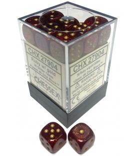 Dados de 6 caras Glitter Polyhedral Chessex. Rubi / Oro D6 - Bloque de 36