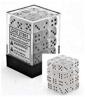 Dados de 6 caras Frosted Chessex. Transparente / Negro D6 - Bloque de 36