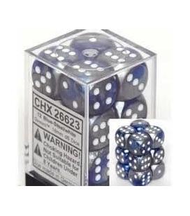 Dados de 6 caras Gemini Chessex. Azul /Acero / Blanco D6 - Bloque de 12