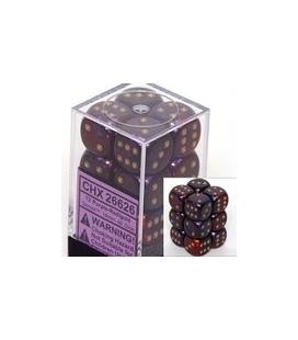 Dados de 6 caras Gemini Chessex. Púrpura / Rojo / Oro D6 - Bloque de 12