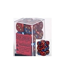 Dados de 6 caras Gemini Chessex. Azul / Rojo / Oro D6 - Bloque de 12