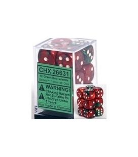 Dados de 6 caras Gemini Chessex. Verde / Rojo / Blanco D6 - Bloque de 12