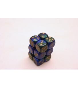 Dados de 6 caras Gemini Chessex. Azul / Verde / Oro D6 - Bloque de 12