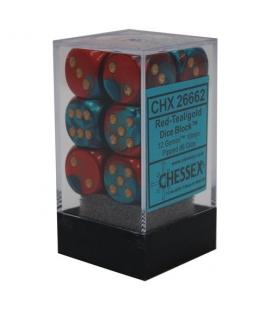 Dados de 6 caras Gemini Polyhedral Chessex. Rojo / Teal / Oro D6 - Bloque de 12