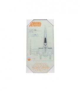 X-Wing planos póster de vídrio Star Wars ep7 30x60 cm