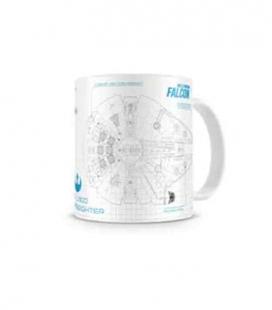 Halcón blueprint taza blanca-azul cerámica Star Wars ep7