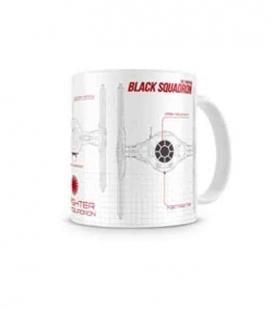 Black squadron blueprint taza blanca-negra cerámica Star Wars ep7