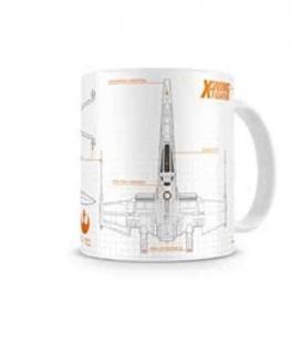 X-wing Blueprint taza blanca-naranja cerámica Star Wars ep7