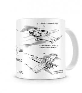 X-Wing taza cerámica blanca Star Wars
