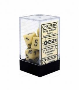 Set de 7 dados de varias caras Opaque Polyhedral Chessex. Marfil / Negro