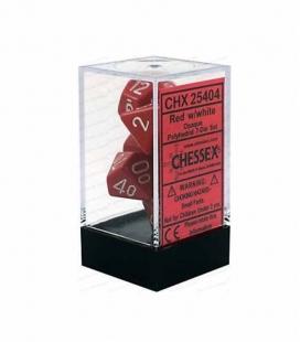 Set de 7 dados de varias caras Opaque Polyhedral Chessex. Rojo / Blanco