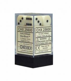 Bloque de 12 dados D6 Opaque Chessex 25600. Marfil / Negro