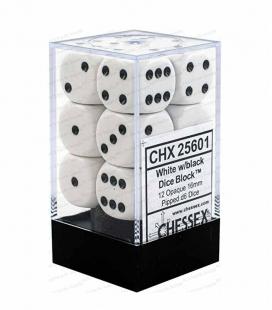Bloque de 12 dados D6 Opaque Chessex 25601. Blanco / Negro
