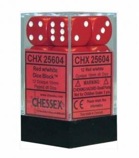 Bloque de 12 dados D6 Opaque Chessex 25604. Rojo / Blanco