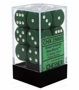 Bloque de 12 dados D6 Opaque Chessex 25605. Verde / Blanco