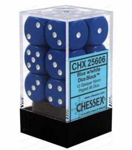 Bloque de 12 dados D6 Opaque Chessex 25606. Azul / Blanco