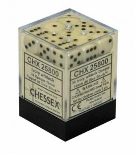 Bloque de 36 dados D6 Opaque Chessex 25800. Marfil / Negro