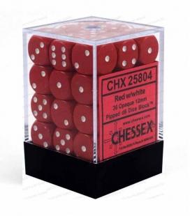 Bloque de 36 dados D6 Opaque Chessex 25804. Rojo / Blanco